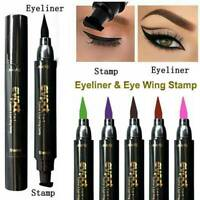 2in1 Pro Winged Eyeliner Stamp Waterproof Makeup Eye Liner Pencil Black Liquid