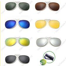 Designer Polarized Lens Flip Up Clip-on Sunglasses Night Glasses Shades Goggle
