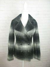 Victoria's Secret Women's size 2 Wool Blend Black Gray Plaid Pea Coat