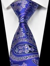 Hot! Classic Paisleys Blue Purple 100% Silk Men's Fashion Necktie 3.15''(8CM)