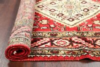 SUMMER SALE Vintage Geometric Malayer Oriental Area Rug Hand-Knotted RED 4'x7'