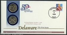 UNITED STATES 50 STATE QUARTERS DELAWARE  P & D OFFICIAL COMMEMORATIVE  COVER