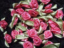 20 Pink Green Satin Ribbon Roses 15-30mm Invitation Card Dress Sewingdecoration