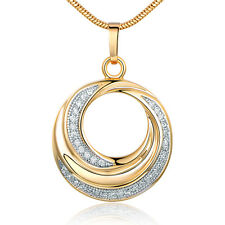 Dangle Spiral Ring Halo Silver & Gold Filled Crystal Women Lady Pendant Necklace