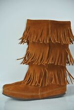 Minnetonka Womens Sz 9 M Brown Suede Leather Three Layer Fringe Boots NICE!!