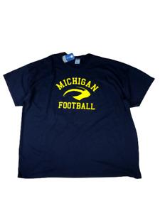 Men's 5XL University Michigan Wolverines T Tee Shirt Logo Football NWT New Blue