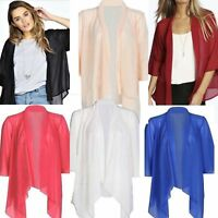 New Womens Ladies Waterfall Mesh Chiffon Kimono open 3/4 Sleeve Cardigan UK 8-26