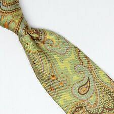 Peter Millar Mens 7 Fold Silk Necktie Spring Green Brown Orange Blue Paisley Tie
