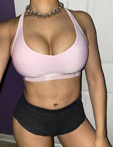 Under Armour Women's Heat Gear Logo Light Pink Sports Low Compression Bra XS
