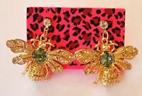 Betsey Johnson Crystal Rhinestone Enamel Bee Stud Earrings