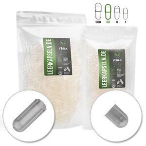 Leerkapseln vegetarisch 1000 Stk. | Gr 00 | vegan HPMC | getrennte Kapselhälften
