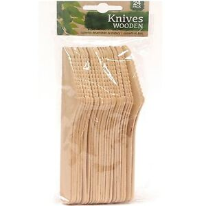 24 x ECO Friendly Disposable Wooden Knives Biodegradable Picnic Outdoor Cutlery