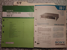 Sony xo-7 service manual original repair book stereo tape deck troubleshooting
