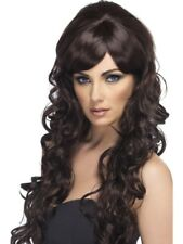 Brown Pop Starlet Wig Long and Curly Adult Womens Smiffys Fancy Dress Costume