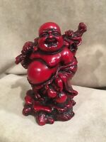 "Vintage Laughing Red Resin Buddha, Signifies Abundance and Happiness 4 1/2"" Tall"