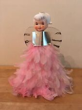 Vintage Christmas Tree Topper Feather ANGEL - Ceramic Head & Pale Pink Feathers
