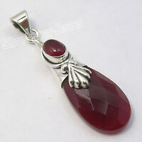 925 Sterling Silver Classic RED CARNELIAN 2 Gem CAP OXIDIZED LONG Pendant 1.8""