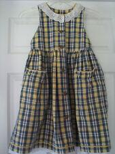 Size 5 girls casual dress jumper Osh Kosh B'Gosh Blue yellow Plaid  EUC  spring