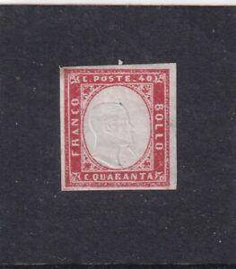 ITALIA ITALIAN STATES SARDEGNA SARDINIA 1863 40c ROSA VERMIGLIO* MH - NUOVO CON