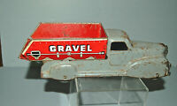 Vintage MARX Toy Pressed Steel Sand and Gravel Dump Truck - Red and Gray - 9 in.