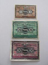 1917 Guben 1/25/50 Pfennig Notes Lot of 3
