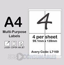 25 fogli A4 bianco etichette indirizzo 3 per foglio