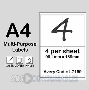 4 Per Sheet White Printable Address Labels L7169. A4, Self-Adhesive - 100 Sheets
