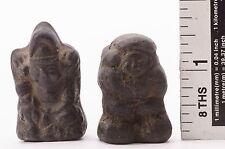 Rare Antique Clay Doll Japanese Pair of Mini DAIKOKUSAMA EBISUSAMA Fortune God