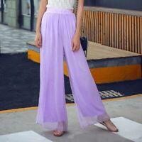Ladies maxi flared trousers high waist casual pants wide leg palazzo chiffon