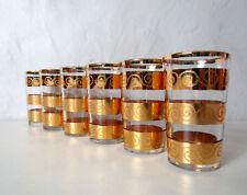 6 verres service thé à la menthe dorés Vintage