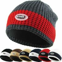 HOT ITEM Men's Waffle Knit Thick Beanie Fleece Lined, Thick Winter Cap
