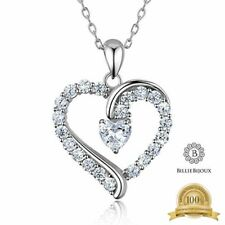 """925 Sterling Silver Heart Necklace Billie Bijoux """"you Are The Only One"""" Love PLA"""