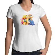 Winnie the Pooh Piglet Tigger Eeyore Roo Womens Juniors Girls V-Neck Tee T-Shirt