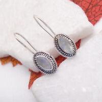 Mondstein weiß blau Design Ohrringe Haken Ohrhänger 925 Sterling Silber neu