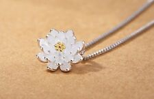 Gold and silver plated daisy / lotus pendant necklace
