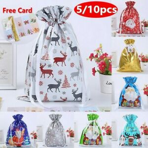 5pcs Christmas Gift Party Bags Sacks Reusable Drawstring Wrap Present Storage