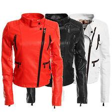 Taillenlang Damenjacken & -mäntel mit Kunstleder und Reißverschluss für Freizeit