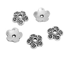 "10 Silver FLOWER BEAD CAPS 1/2"" (12mm) Findings (00179)"