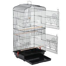 Metal Bird Cage Large Birdcage with Bowl Perch Parrot Aviary