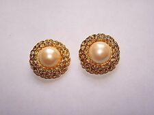 Signed Joan Rivers Classic Collection Gold Twist Rope Pearl Clip On Earrings
