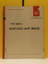 General Radio 1652 0110 G 1652 A Resistance Limit Bridge Operating Instructions
