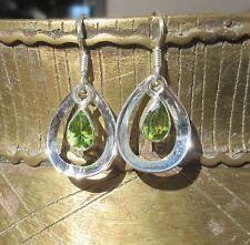 Ohrring Tropfen Peridot Stein der Sonne und Monat August Sterling Silber 925