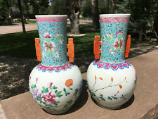 Pair of Chinese Turquoise Glazed Famille Rose Flowers Porcelain Vases