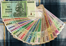 10 Trillion Zimbabwe Dollars Set 20 Different Banknotes 50 Billion 100 Million +