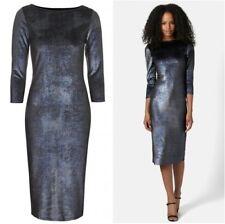 Topshop Black Blue Silver Shimmer Velvet Velour Midi Bodycon Dress - Size 8