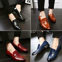 Men Retro Polished Leather Loafers Slip-on Driving Shoes Formal Dress Casual NEW