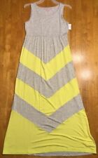 NWT Design History Girl's Gray & Yellow Striped Sleeveless Maxi Dress Large