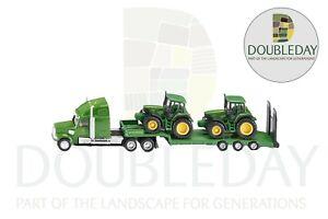 John Deere Siku Lorry & Low Loader Trailer & Two John Deere Tractors 1:87 Scale
