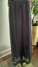 Woman's Nicole 100% Silk Dark Gray Floral Maxi Skirt Made in Italy  L NWT