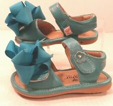 MOOSHU TRAINER MaryJane Sandals SHOES Turquoise Blue TODDLER Girl 7M Clip On BOW